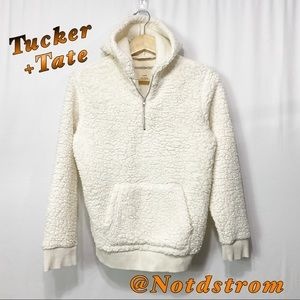 Tucker+Tate Cream Faux Fur Teddy Bear Half Zip L